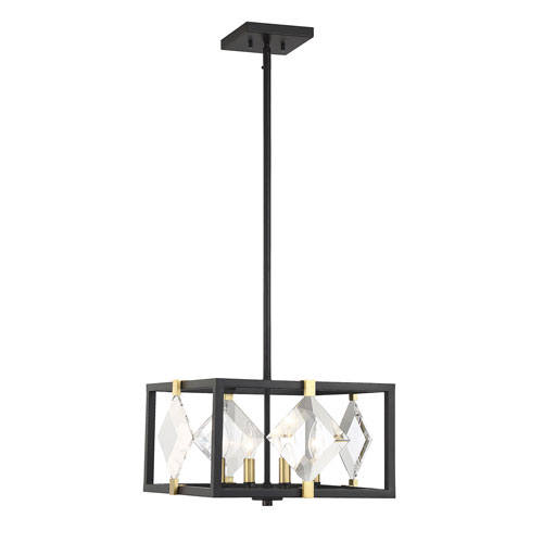 Lowell Bronze with Brass Accents Four-Light Pendant