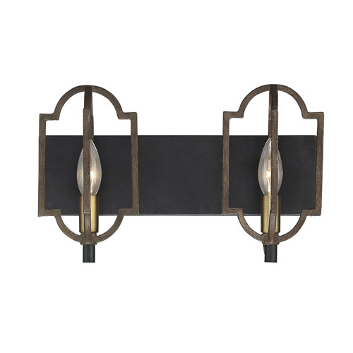 Westwood Barrelwood with Brass Accents Two-Light Bath Vanity