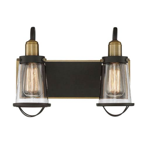 Lansing English Bronze and Warm Brass Two-Light Bath Vanity
