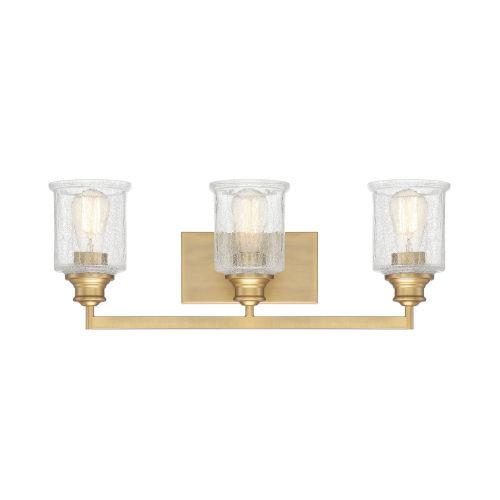 Hampton Warm Brass Three-Light Bath Vanity