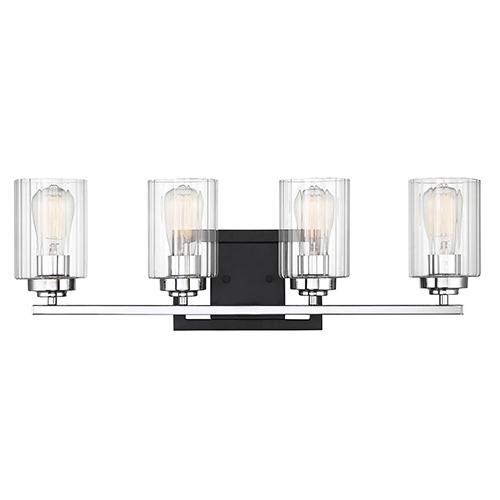 Redmond Matte Black with Polished Chrome Accents Four-Light Bath Bar