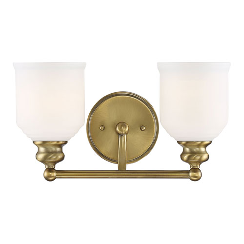 Melrose Warm Brass Two-Light Bath Vanity