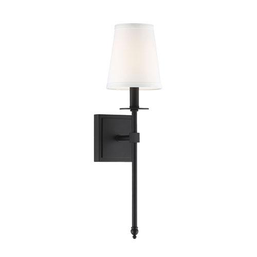 Savoy House Monroe Matte Black 20-Inch One-Light Sconce