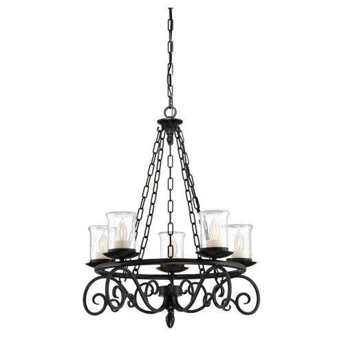 Welch Black Five-Light Outdoor Chandelier