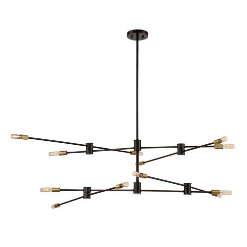 Lyrique Bronze with Brass Accents 12-Light Chandelier