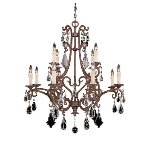 New Tortoise Shell Twelve-Light Chandelier