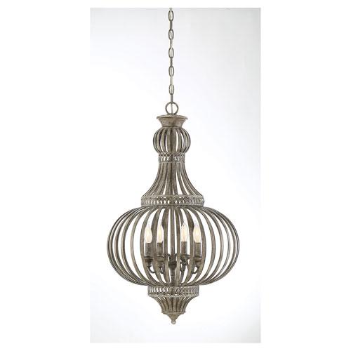 Ashford Aged Wood Four-Light Chandelier