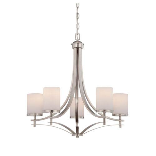 Savoy House Colton Nickel and Pewter Five-Light Chandelier