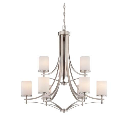 Savoy House Colton Nickel and Pewter Nine-Light Chandelier