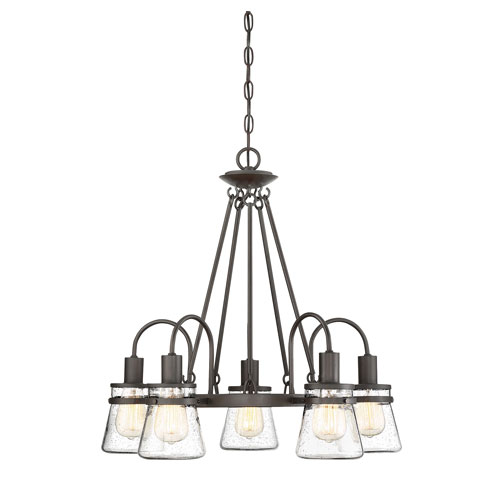 Portsmouth English Bronze Five-Light Outdoor Chandelier