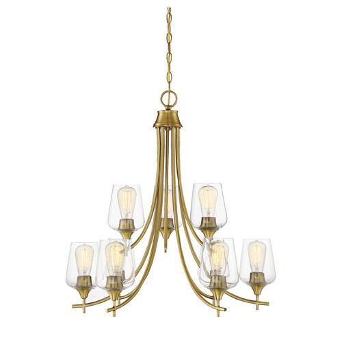 Savoy House Octave Warm Brass Nine-Light Chandelier