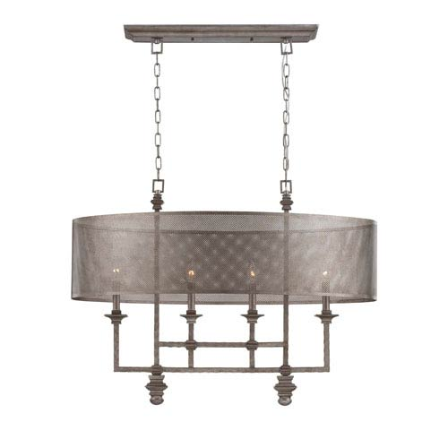 Structure Aged Steel Four-Light Chandelier