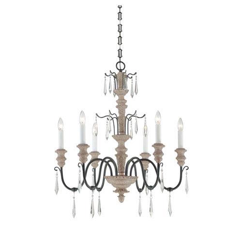 Savoy House Madeliane Distressed White Iron Six-Light Chandelier