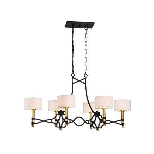 Savoy House Exete Carbon 42-Inch Six-Light Island Pendant