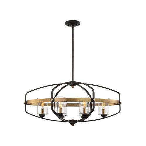 Kirkl English Bronze and Warm Brass 32-Inch Six-Light Island Pendant