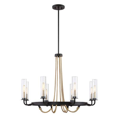Savoy House Kearn Vintage Black 32-Inch Eight-Light Chandelier