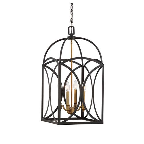 Talbot English Bronze and Warm Brass Four-Light 28-Inch Chandelier