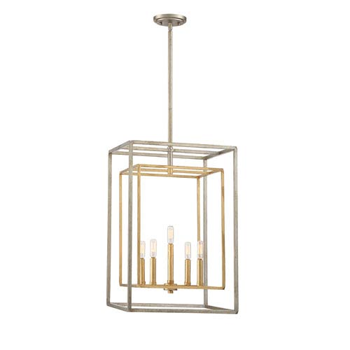 Berlin Argentum and Gold Five-Light Foyer Pendant