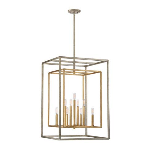 Savoy House Berlin Argentum and Gold Nine-Light Foyer Pendant