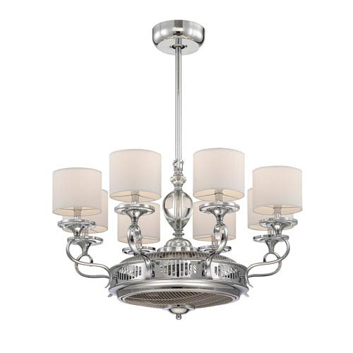 Savoy House Levantara Chrome and Polished Nickel Fluorescent Eight Light Ceiling Fan