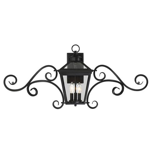 Savoy House Ellijay Black Three-Light 38-Inch Outdoor Wall Sconce