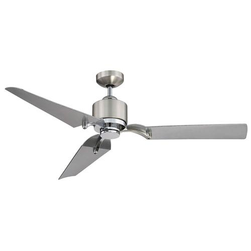 Wasp Satin Nickel and Chrome 52-Inch One-Light LED Ceiling Fan