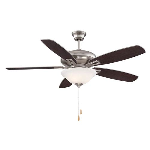 Mystique Nickel and Pewter Three-Light 52-Inch Ceiling Fan with Five Blades