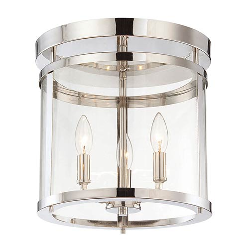 Penrose Polished Nickel Three-Light Semi-Flush