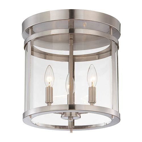 Penrose Brushed Nickel and Pewter Three-Light Semi-Flush