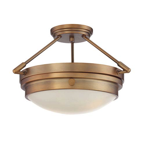 Lucerne Warm Brass Two-Light Semi Flush