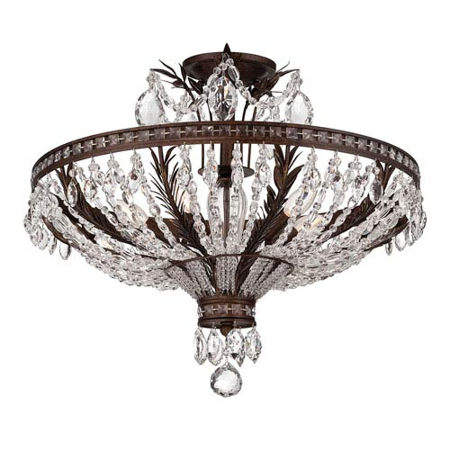 Sheraton New Tortoise Shell 24-Inch Five-Light Semi Flush Mount