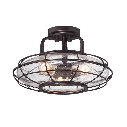 Connell English Bronze 16-Inch Three-Light Semi Flush Mount