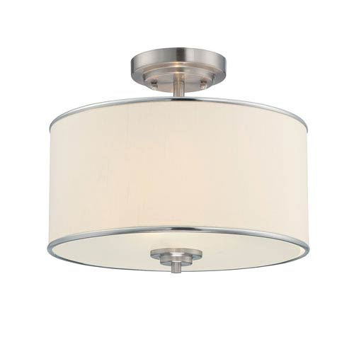 Grove Nickel and Pewter Two-Light Semi-Flush