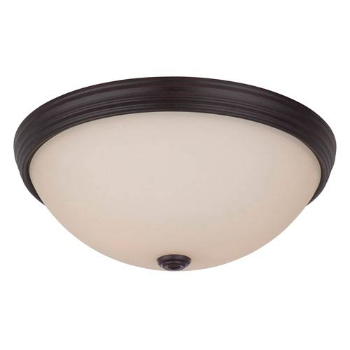 Savoy House Savoy House 13-Inch English Bronze Two Light Flush Mount with Soft Cream Etched Glass