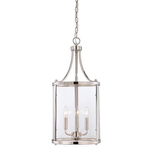 Savoy House Penrose Chrome And Polished Nickel Three Light Foyer Pendant