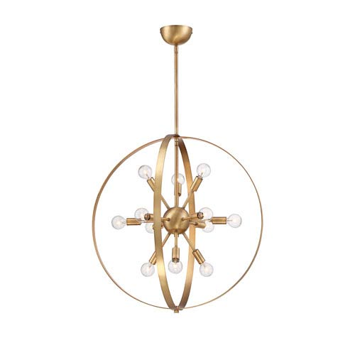 Marly Warm Brass 12-Light Chandelier