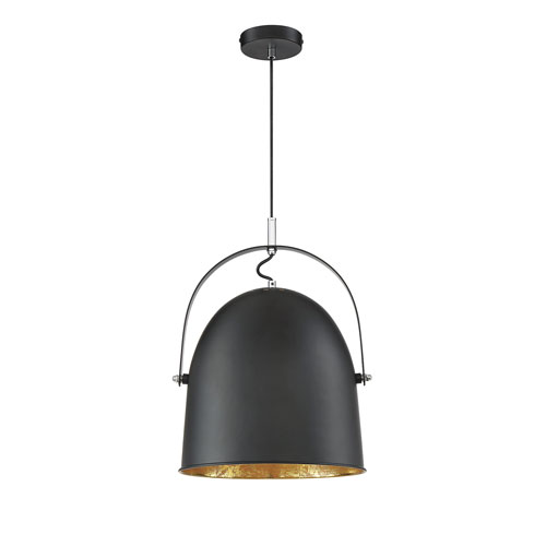 Cypress Black with Gold Leaf One-Light Pendant