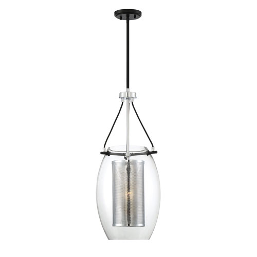 Dunbar Matte Black with Polished Chrome Accents One-Light Pendant