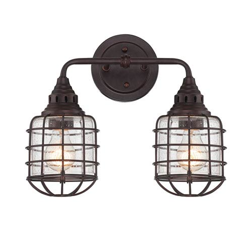 Connell English Bronze 15-Inch Two-Light Bath Fixture