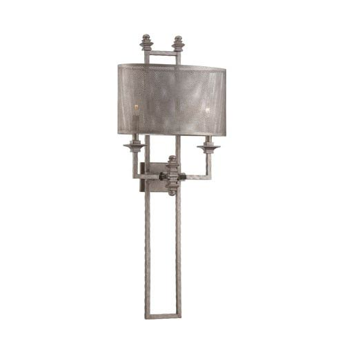 Structure Aged Steel Two-Light Sconce