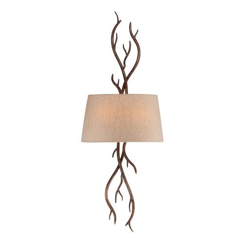 Brambles Moonlit Bark Two-Light Sconce
