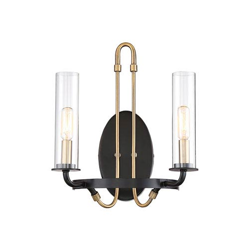 Savoy House Kearn Vintage Black 12-Inch Two-Light Wall Sconce