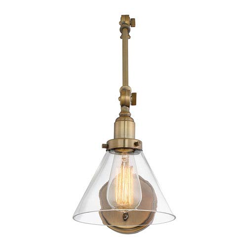Savoy House Drake Warm Brass 7-Inch One-Light Wall Sconce