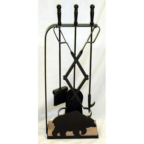 Stone Base Fireplace Tools with Walking Bear