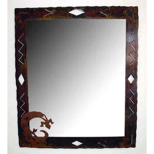 Diamond Mirror with Petroglyph Lizard