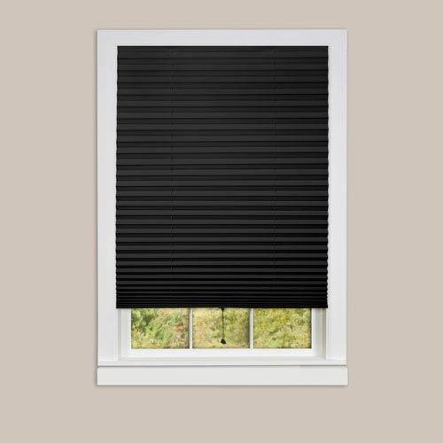 1-2-3 Black 75 x 36-Inch Pleated Shades