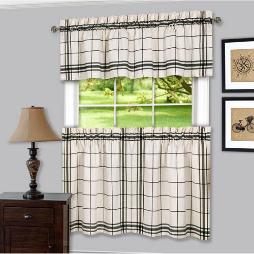Bainbridge Black Curtain Tier Pair and Valance Set
