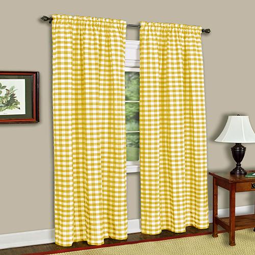 Yellow Buffalo Check 84 x 42 In. Window Curtain Panel