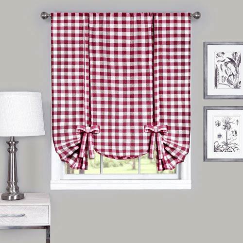 Buffalo Check Burgundy 42 x 63-Inch Window Tie Up Shade