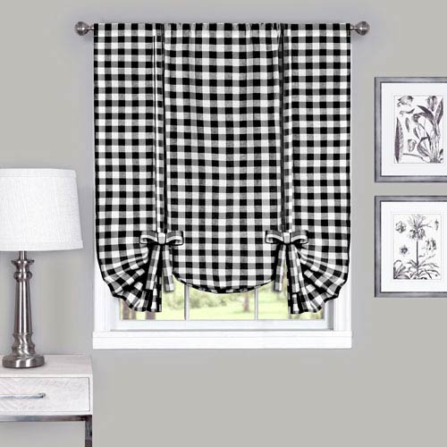 Buffalo Check Black 42 x 63-Inch Window Tie Up Shade